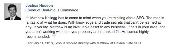 Recommendation Joshua Hudson