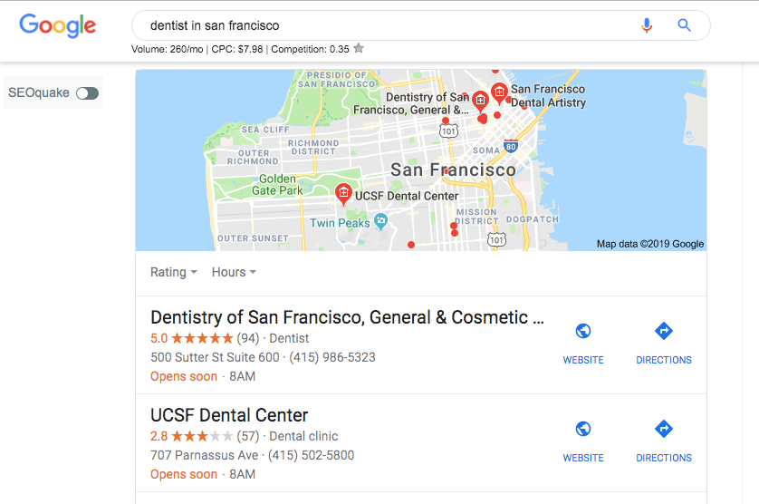 search engine results page for dentist in san francisco